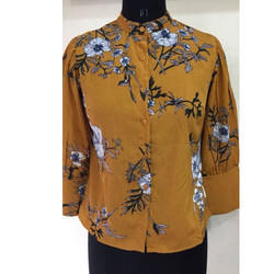 Ladies Yellow Printed Shirt
