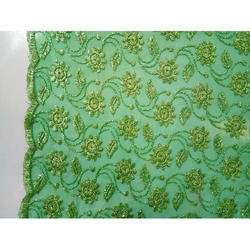 Green Embroidered Net Fabric