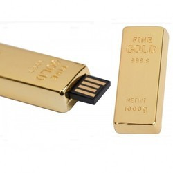 Plastic Silver Color Gold Bar Shape USB Drive CSM102