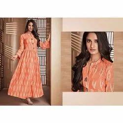 Casual Wear Regular Ladies Handloom Cotton Anarkali Kurti, Wash Care: Machine wash