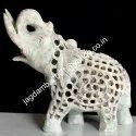 Hard Soapstone Inlay Elephant