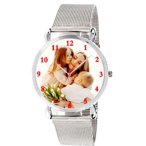 Silver Analog Customised Watches For