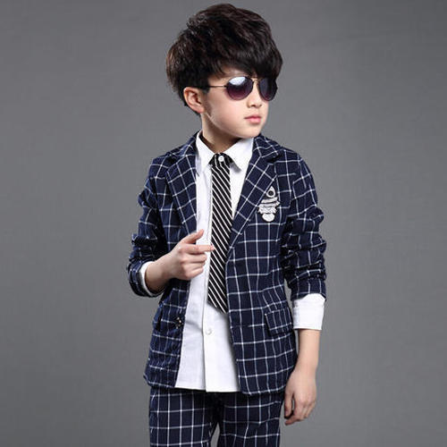 046235172 Blue Party Wear Kids Boys Checked 2 Piece Suit