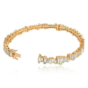 14Kt Solid Yellow Gold Baguettes Diamond Bangle