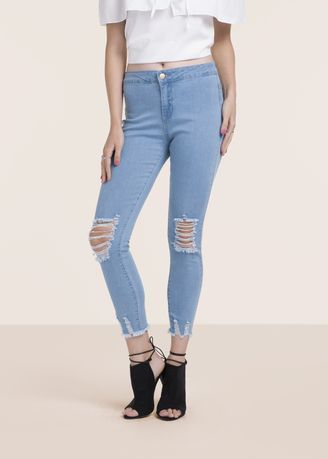 Blue Comfort Ripped Skinny Jeans