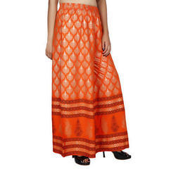 Ladies Orange Designer Printed Palazzo, Size: XL