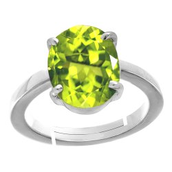 Peridot Stone Silver Ring Men and Women Gemstone