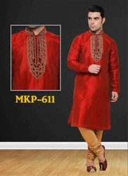 Mens Stylish Red Heavy Embroidered Kurta Pyjama