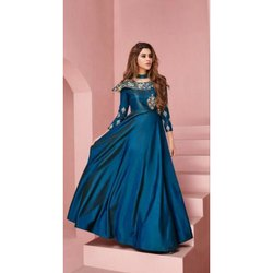 Party Wear Embroidered Ladies Embroided Silk Gown, Size: S-XL