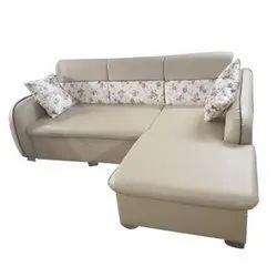 L Shape Cream Modular Corner Sofa Set, Seating Capacity: 4 Seater