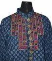 Indigo Hand Block Print Embroidery Mirror work Short Kurti Dress Tunic BollyWood