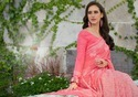 Pink Cotton Linen Sarees