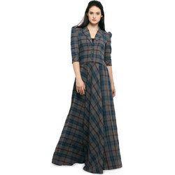 8b491b9423a Women Lapel Collar Check Pattern Maxi Dress