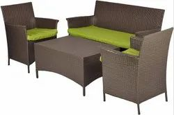 Outdoor Patio 4 Seater Sofa Set with Glass Top