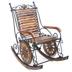 Iron and Wooden Rocking Chair, Height: 4 feet