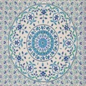 Indian White Round Floral Print Duvet Cover
