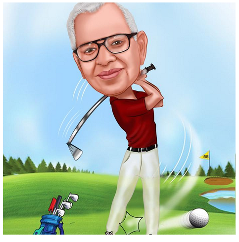 Happy Birthday Golfer Caricature Gifts