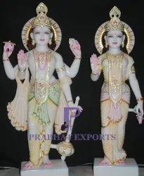 Gold Plated Marble Laxmi Narayan Statue