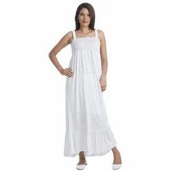 Ladies White Long Dress, Packaging Type: Packet