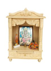 Wooden Beautifully Crafted Home Temple With White Sevan Polish, Size/Dimension: 20inches x 10 Inches