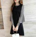 Black Striped Horn Sleeve Printed Dress, Size: M, L & Xl