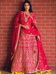 Exclusive Women's Red Bridal Lehenga Choli By Parvati Fabric (76614)