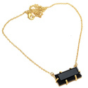 Black Onyx Hot Necklace Style For Womens & Girls Micron Gold Plated Pendant