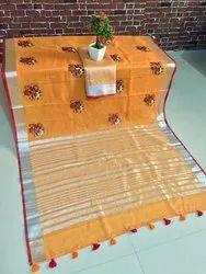 Pure Linen Embroidery & Jari Work Saree