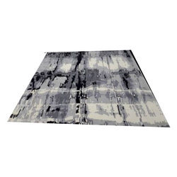 Black And White Majestic Indo Nepali Wool And Silk Rug