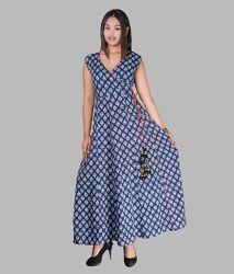V Neck Cotton Full Length Dress