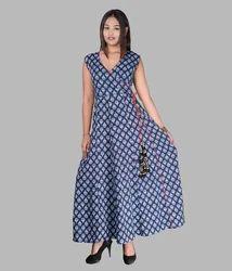 V Neck Cotton Full Length Dress