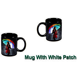White Ceramic Black Printed Mug