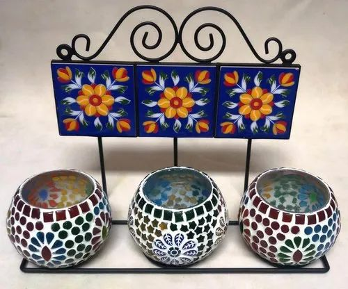 Iron Ceramic Hanger with Mosaic Candle Stand