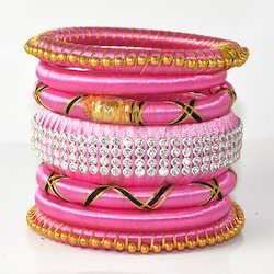 Indian Handcraft Pink Colourful Silk Thread Bangles Set