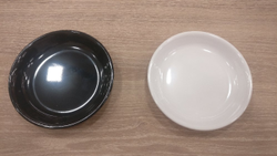 White and Black Melamine Gloss finish round chaat plate, For Domestic & commercial