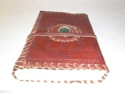 Handmade Leather  Binding Journal with Stone