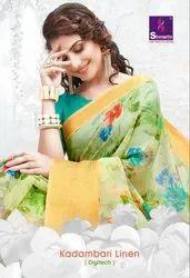 Shangrila Kadambari Linen Printed Saree