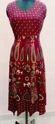 Printed Mehroon Girls Rayon Middi, Size: Free Design