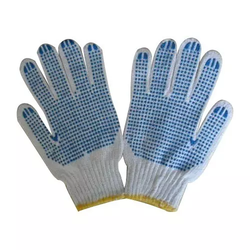 Unisex Off White and Blue PVC Dotted Gloves