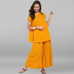 Mustard Poly Crepe Top With Palazzo(SET066)