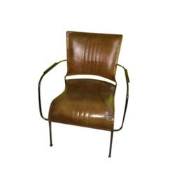 Iron,Leather 18 Inch Designer Iron Leather Chair