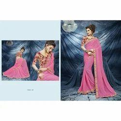 Wedding Wear Embroidered Designer Chiffon Saree, With Blouse Piece