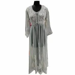 Embroidered Stitch Ladies Long Faux Georgette Gown