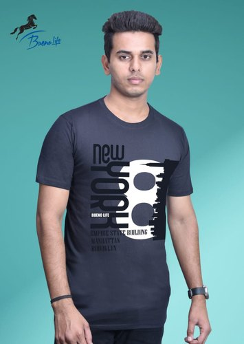 6a316ddae5 Cotton Half Sleeves Men's Round Neck Printed T Shirt, Rs 155 /piece ...