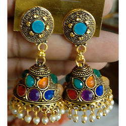 Aryan Golden Traditional Multi Kundan Earrings, Packaging Type: Box, Shape: Round