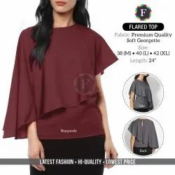Plain Ladies Flared Soft Georgette Top, Size: M To XL