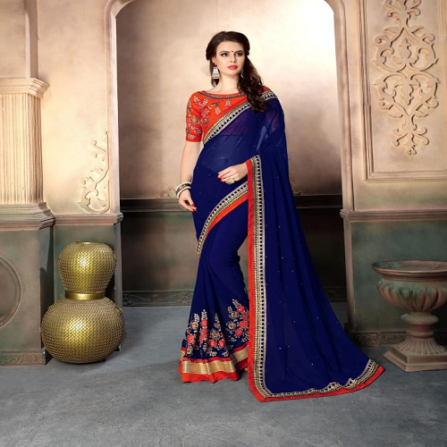 abef35090 Georgette Designer Modern Fancy Sarees With Blouse Piece, Rs 1150 ...
