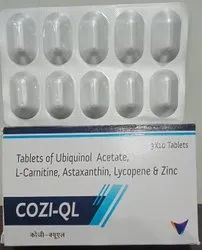 Ubiquinol Acetate (Reduced COQ10) L-Carnitine 1000mg Astaxanthin 16mg Lycopene 2.5mg Zinc12.5mg