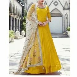 Ladies Party Wear Cotton Designer Floor Length Anarkali Suit