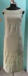 cotton blen off shoulder Women Straight Kurti, Handwash